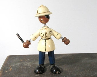VINTAGE Nodder Bobble Head Black Bobby Policeman Goula Carved Wood Painted One (1) Policeman 1970s Made in Spain Figures Collectible (F47)