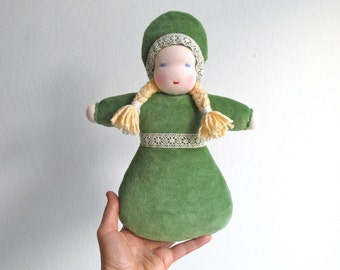 Girl gift, doll, organic, baby, blond hair, blue eye, green, 10.5inch, soft, lace, plush, companion, READY TO SHIP
