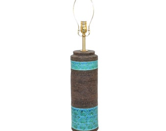 Bitossi for Raymor Pottery Lamp Turquoise and Brown Mid-Century Modern