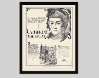 Catherine the Great, Vintage Art Print, Classroom Art, History Lovers Gift, History Teacher Gift, Russian History, Royalty, History Print