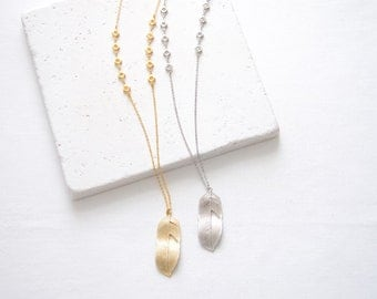 Long Feather Necklace | gold or silver