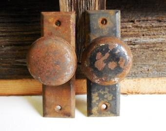 2 vintage door knobs w/ plate Storage garden shed, screen door small Metal Handles Restoration hardware supplies SalvageRelics
