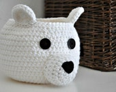 Polar Bear Basket Crocheted Bin Teddy Bear Nursery Decor Woodland Home Organizer