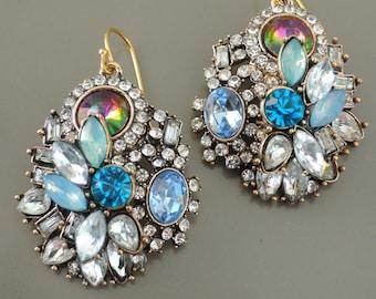 Vintage Earrings - Rhinestone Earrings - Colorful Earrings - Antique Gold Earrings - Blue Opal Boho Earrings - handmade jewelry