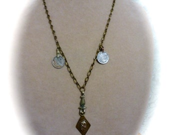 Rustic Boho Chic Pendant Necklace with Vintage Coins and Charm Pendants