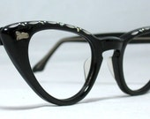 Vintage 60s Gold and Black and Silver Cat Eye Eyeglasses. With AB Rhinestones.