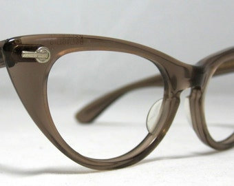 Vintage 60s Cat Eye Eyeglasses. Brown Translucent by Bausch and Lomb