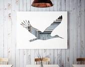 Bird poster, bird silhouette in blue, stork print, 11x14 bird art print, baby art, nursery decor, whimsical animal art, bird nursery print