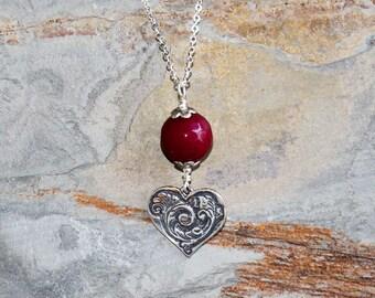 Heart Necklace, Dark Pink Necklace, Stone Necklace, Raspberry Necklace, Jade Necklace, Love Necklace, Valentine's Day Necklace, Handmade