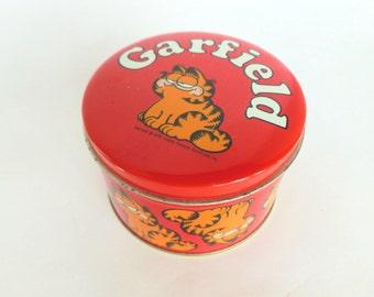 Garfield the Cat Tin Jim Davis Bristol Ware Round Storage Container 1978