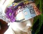 womens Newsboy Peak Cap peak cap sun visor cream graffiti print with flower