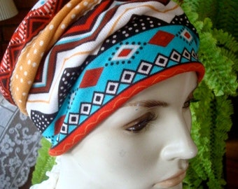 womens Headband extra Wide Soft Headband  tribal print Comfortable Yoga turband Alopecia soft  med knit