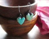 Natural Turquoise Heart Earrings, Sterling Silver, Delicate Earrings, Drop Earrings... L' Amour...