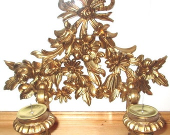 Vintage Wall Scone.  Gold Candle Holder.  Vintage 1960s Raised Italian Bouquet Flower Candle Wall Scone. Gold
