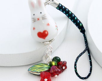 Kawaii Cute Phone Charm - Sweetheart Bunny, Red Czech Glass Flowers, White Rabbit Bead, Red Heart Design, Black Lanyard or Dust Plug Charm