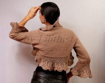 Crochet Shrug Bolero, Brown Knit Shrug, Bridal Lace Shrug, Sweater Shrug, Knit Bolero Jacket, Cover Up, Bridal Lace Shrug, Cape  / S-M-L
