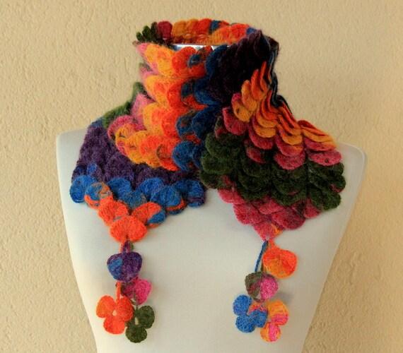Cowl Infinity Scarf Chunky Crochet Scarf, Leaf Scarf Purple Pink Green Flower Scarf Neck Warmer Fashion Scarf, Women Fall Winter Accessories