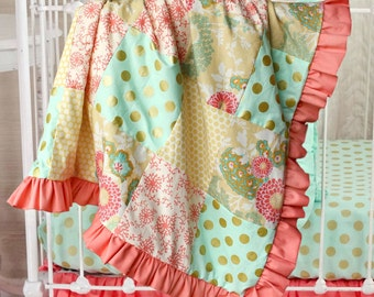 Mint Coral Gold Ruffle Baby Blanket,Buttercup Patchwork Blanket, baby girl crib blanket, minky baby blanket