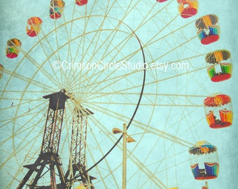 DIGITAL PRINT 5x7 - Let's reach for the stars - romance, nostalgia, ferris wheel, show ride, sky, turquoise, Valentine's day