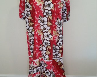 1970s Cotton Hawaiian Maxi Dress, Hawaiian Mu Mu, XXL Hawaiian Dress, Red and White, #59387