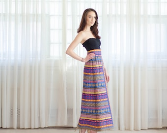 Vintage 1970s Maxi Skirt - Quilted 70s Skirt - Folklore Maxi Skirt