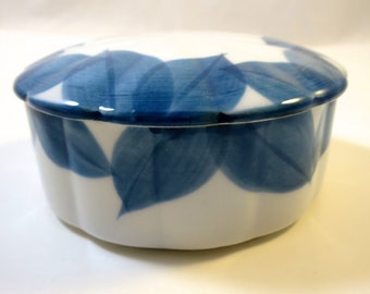 Vintage China Vanity Box Blue and White  Round Box w/ Leaves Fine Porcelain Scalloped Shape w/ Lid Jewelry Keepsake Candy Trinket Box