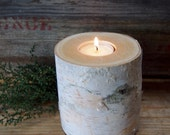 Birch CANDLE HOLDER - Tea Candle Size - Personalized Gift - Natural Rustic Wedding Candle - Woodland Wedding Decor