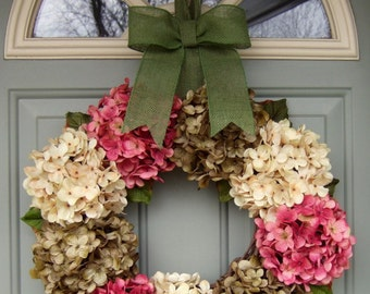 Spring Wreath - Wreath for Spring Door - Spring Hydrangea Wreath - Front Door Wreath