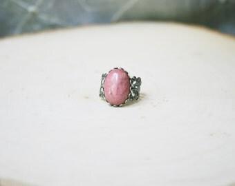 Pink Rhodonite Ring Pink Stone Ring Antique Filigree Pink Gemstone Ring Green Agate Ring Green Gemstone Ring Green Stone Ring