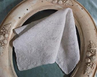 Antique White Bridal Wedding Handkerchief Embroidery Drawn Work Appenzell