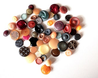 54 Vintage Buttons // Mixed Lot // 40s 50s 60s //  New Old Stock Buttons // Assorted Sample Pack // Destash  // BD206