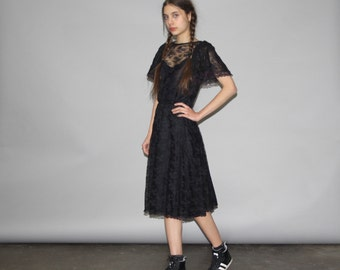 Vintage Black Lace Goth Boho Dress -  Black Lace Dresses - Boho Lace Dresses  - WD0711