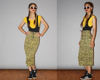 1990s Vintage Yellow Leopard Print Lace Up Corset Denim Jean Pencil Skirt  - Vintage Denim Skirt   -  90s Denim Jean Skirts  - wb0434