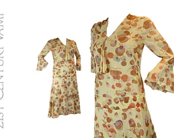 Original 1920s Art Deco Print Dress. Bias Cut. Bell Sleeves. Sheer Floral. 20s. 30s.Flapper.