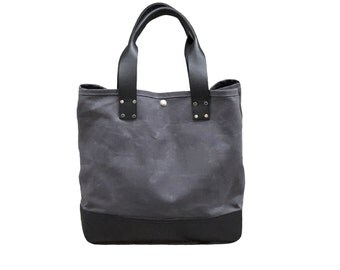 Charcoal tote bag with black leather