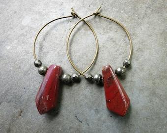 Red Jasper Hoop Earrings, beaded wire hoops with brick red jasper drops, Bohemian tribal red stone dangle earrings