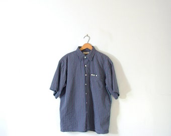 Vintage 80's Guess blue striped button up shirt, short sleeved, size large