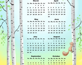 SALE - Lower Price 2017 Calendar Squirrels in a Birch Forest Linen Cotton Kitchen Towel or Wall Hanging