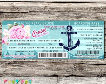 Cruise Ticket Invitation - Editable - Printable - DIY - Digital File - INSTANT DOWNLOAD - Shower - Wedding