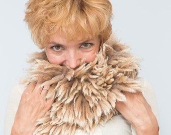 Felted Fur Neck Warmer Collar Felted scarf OOAK-- Ready to Ship now