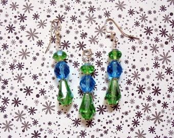 Green and Aqua Drop Pendant and Earrings (0575)
