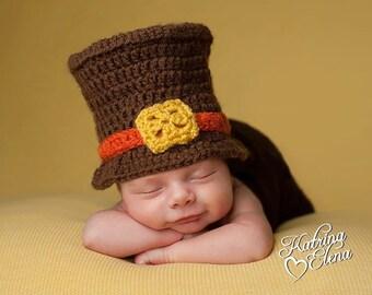 Newborn Boy Pilgrim Hat/ Thanksgiving Baby / Brown and Orange Hat/ Autumn Baby Prop/ Gender Neutral Hat/Baby Boy Hat/Baby Shower Gift