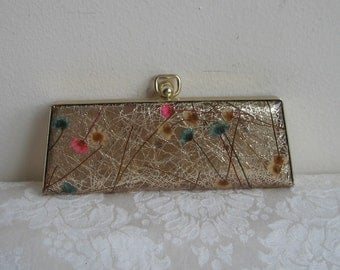 Vintage Eyeglass Hard Case With Gold Sparkles & Dried Flowers, Mid Century Wallet Change Purse Clutch, Glitz And Glam