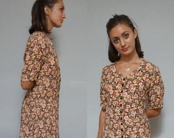 grunge naf floral print button down long vintage 80s preppy dress - medium M