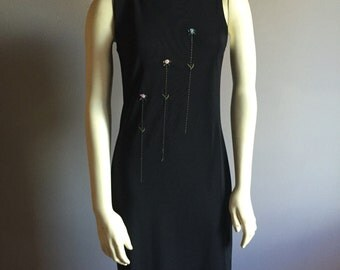 S black maxi pastel goth 90s vintage straight boat neck sleeveless women body con stretch slim sleek chic LBD floral tulip cyber club kid M