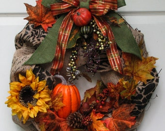 Fall Wreath, Autumn Burlap Wreath, Front Door Wreath, Outdoor Door Wreath, Burlap Wreath, Sunflower Wreath