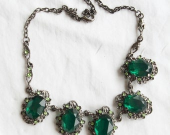 1950s Costume Jewellery, Emerald Necklace from Paris