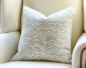 Zebra Palm Pillow Cover - Gray Pillow - Zebra Pillow - Palm Pillow - Tropical Pillow - Gray Decorative Pillow - Designer Pillow - Palm Print