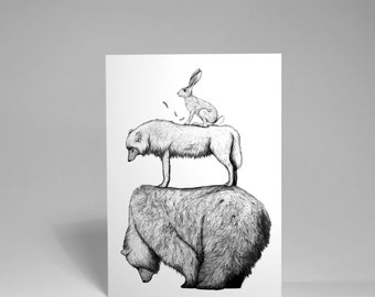 Laughed at by the Gods - Card - Hare upon a Wolf upon a bear, greetings card