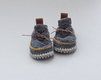 Babies Boot-laced Booties Made for Walking  in mouse grey with mustard yellow trim - Babies U.S. sizes 3-7 EUR 16-24